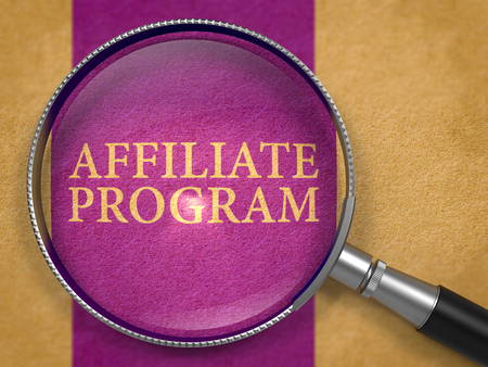 affiliation: Affiliate Program Concept through Magnifier on Old Paper with Dark Lilac Vertical Line Background. 3D Render. Stock Photo