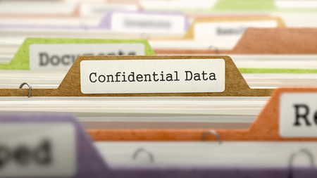 thievery: Confidential Data Concept on File Label in Multicolor Card Index. Closeup View. Selective Focus. 3D Render.