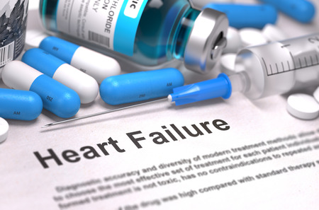 heart failure: Heart Failure - Printed Diagnosis with Blurred Text. On Background of Medicaments Composition - Blue Pills, Injections and Syringe. 3D Render.