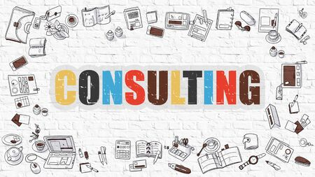 managerial: Multicolor Concept - Consulting - on White Brick Wall with Doodle Icons Around. Modern Illustration with Doodle Design Style.