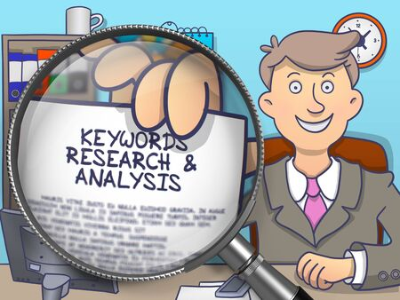 Text on Paper in Businessmans Hand to Illustrate a Keywords Research and Analysis Concept. Closeup View through Magnifying Glass. Multicolor Modern Line Illustration in Doodle Style.