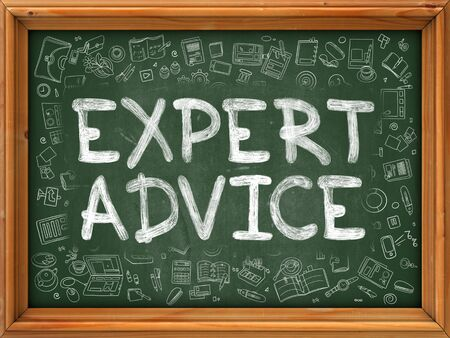style advice: Expert Advice - Hand Drawn on Green Chalkboard with Doodle Icons Around. Modern Illustration with Doodle Design Style.