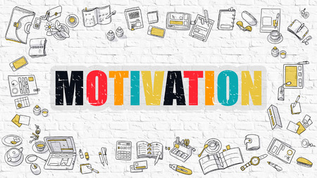 inducement: Motivation Concept. Motivation Drawn on White Wall. Motivation in Multicolor. Modern Style Illustration. Doodle Design Style of Motivation.  Line Style Illustration. White Brick Wall.