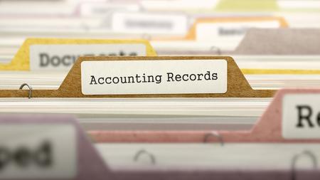 registros contables: Los registros de contabilidad Concepto. Color carpetas de documentos clasificados para el catálogo. Primer punto de vista. Enfoque selectivo. Render 3D.