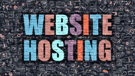 web services: Website Hosting - Multicolor Concept on Dark Brick Wall Background with Doodle Icons Around. Modern Illustration with Elements of Doodle Style. Website Hosting on Dark Wall.
