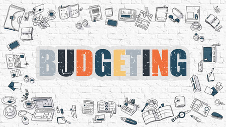 marginal: Budgeting Concept. Modern Line Style Illustration. Multicolor Budgeting Drawn on White Brick Wall. Doodle Icons. Doodle Design Style of  Budgeting Concept.