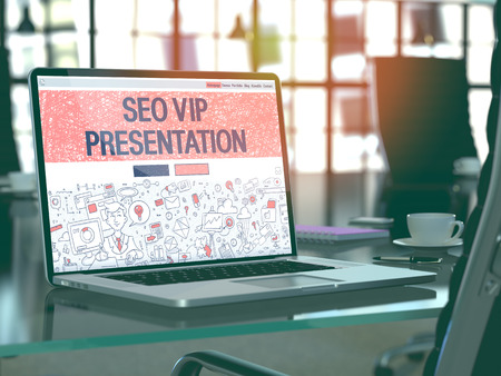 relevance: Modern Workplace with Laptop Showing Landing Page in Doodle Design Style with Text SEO VIP Presentation. Toned Image with Selective Focus. 3D Render.