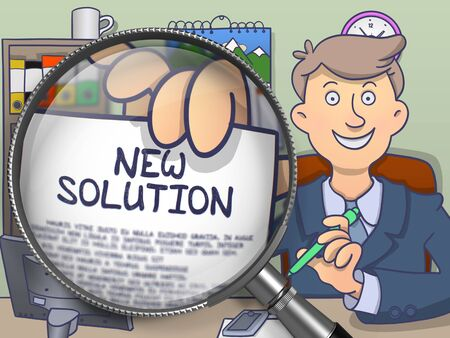 growth enhancement: New Solution. Smiling Businessman in Office Workplace Showing Text on Paper through Magnifier. Colored Doodle Illustration.