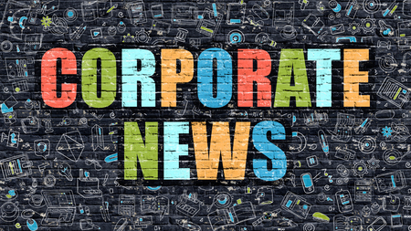 domestic policy: Corporate News. Multicolor Inscription on Dark Brick Wall with Doodle Icons. Corporate News Concept in Modern Style. Doodle Design Icons. Corporate News on Dark Brickwall Background. Stock Photo