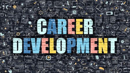 career development: Multicolor Concept - Career Development on Dark Brick Wall with Doodle Icons. Modern Illustration in Doodle Style. Career Development Business Concept. Career Development on Dark Wall.