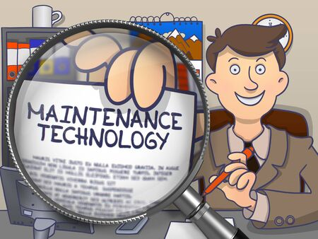 newest: Maintenance Technology. Businessman Shows Paper with Inscription through Magnifying Glass. Multicolor Modern Line Illustration in Doodle Style.