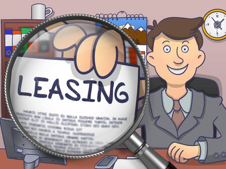 leasing: Business Man in Office Workplace Holding a Paper with Business Concept - Leasing. Closeup View through Magnifying Glass. Multicolor Modern Line Illustration in Doodle Style.