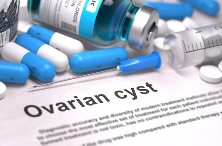 cyst: Diagnosis - Ovarian Cyst. Medical Report with Composition of Medicaments - Blue Pills, Injections and Syringe. Blurred Background with Selective Focus. 3D Render.