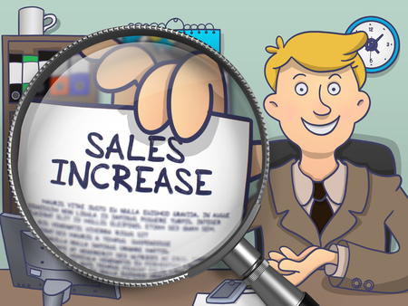 realize: Sales Increase. Officeman Showing Paper with Inscription through Lens. Colored Doodle Illustration.
