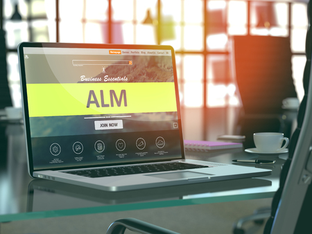 streamlining: Alm Concept Closeup on Laptop Screen in Modern Office Workplace. Toned Image with Selective Focus. 3D Render. Stock Photo