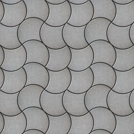 tileable: Gray Decorative Wavy Pavers. Seamless Tileable Texture. Stock Photo