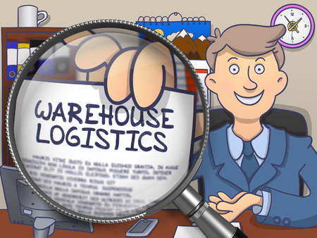 safekeeping: Warehouse Logistics through Magnifier. Man Showing Paper with Concept Logistics. Closeup View. Multicolor Doodle Style Illustration. Stock Photo