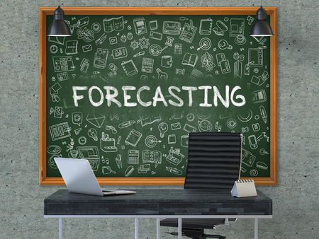 Green Chalkboard on the Gray Concrete Wall in the Interior of a Modern Office with Hand Drawn Forecasting. Business Concept with Doodle Style Elements. 3D.