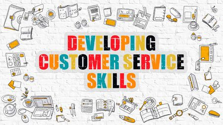 developing: Developing Customer Service Skills Concept. Modern Line Style Illustration. Multicolor Developing Customer Service Skills Drawn on White Brick Wall. Doodle Design. Stock Photo
