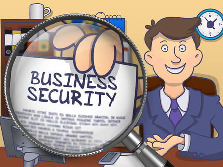 business security: Business Security. Concept on Paper in Mans Hand through Magnifier. Colored Doodle Style Illustration.