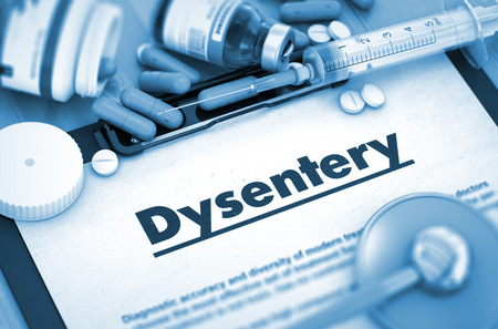 dysentery: Dysentery - Printed Diagnosis with Blurred Text. Dysentery Diagnosis, Medical Concept. Composition of Medicaments. 3D. Toned Image.