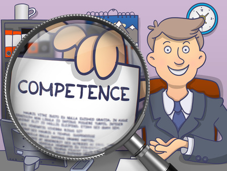 adequacy: Officeman Holds Out Business Concept on Paper - Competence. Closeup View through Magnifying Glass. Multicolor Doodle Illustration.
