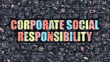 responsabilidad: Concepto de Responsabilidad Social Empresarial. Responsabilidad social de las empresas dibujado en la pared de ladrillo oscuro. Concepto de Responsabilidad Social Empresarial en Multicolor Estilo Doodle moderno.