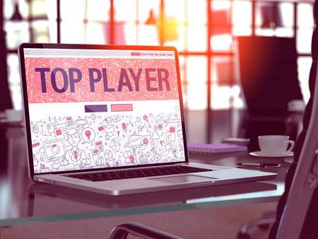 middleware: Top Player Concept - Closeup on Landing Page of Laptop Screen in Modern Office Workplace. Toned Image with Selective Focus. 3D Render.