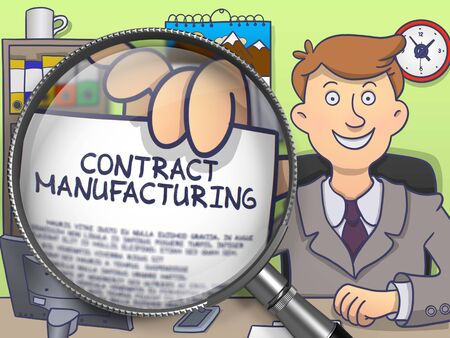 Contract Manufacturing. Text on Paper in Business Mans Hand through Magnifier. Colored Doodle Illustration.