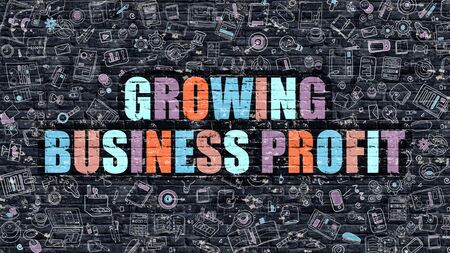 Growing Business Profit - Multicolor Concept on Dark Brick Wall Background with Doodle Icons Around. Illustration with Elements of Doodle Style. Growing Business Profit on Dark Wall.