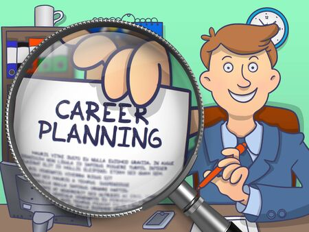 personal development: Career Planning on Paper in Officemans Hand to Illustrate a Personal Development Concept. Closeup View through Magnifier. Multicolor Doodle Style Illustration. Stock Photo