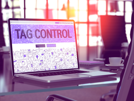 descriptor: Tag Control Concept - Closeup on Landing Page of Laptop Screen in Modern Office Workplace. Toned Image with Selective Focus. 3D Render. Stock Photo