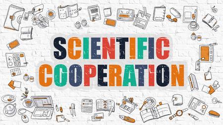 metodo cientifico: Concepto Cooperación científica. Ilustración estilo de línea moderna. Cooperación científica multicolor dibujado en la pared blanca de ladrillo. Los iconos del Doodle. Diseño de estilo de bosquejo del concepto de cooperación científica. Foto de archivo