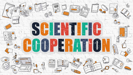 metodo cientifico: Scientific Cooperation Concept. Modern Line Style Illustration. Multicolor Scientific Cooperation Drawn on White Brick Wall. Doodle Icons. Doodle Design Style of  Scientific Cooperation  Concept.