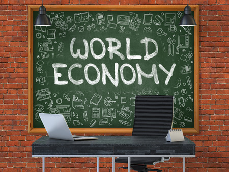 geopolitics: Green Chalkboard with the Text World Economy Hangs on the Red Brick Wall in the Interior of a Modern Office. Illustration with Doodle Style Elements. 3D. Stock Photo