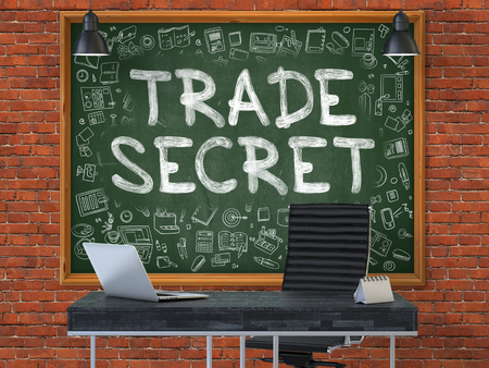 trade secret: Trade Secret - Hand Drawn on Green Chalkboard in Modern Office Workplace. Illustration with Doodle Design Elements. 3D. Stock Photo