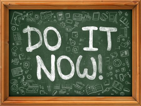 green it: Do It Now Concept. Modern Line Style Illustration. Do It Now Handwritten on Green Chalkboard with Doodle Icons Around. Doodle Design Style of  Do It Now Concept. Stock Photo