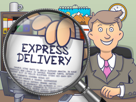 urgently: Man in Suit Showing Offer on Paper - Express Delivery - through Magnifier. Closeup View. Multicolor Doodle Illustration. Stock Photo