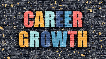 growth: Career Growth Concept. Career Growth Drawn on Dark Wall. Career Growth in Multicolor. Career Growth Concept. Modern Illustration in Doodle Design of Career Growth. Stock Photo