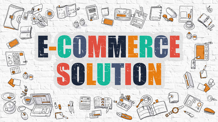 brickwall: E-Commerce Solution. Multicolor Inscription on White Brick Wall with Doodle Icons Around. Modern Style Illustration with Doodle Design Icons. E-Commerce Solution on White Brickwall Background. Stock Photo