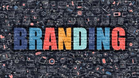 ブランディング。落書きアイコンで暗いレンガの壁に多色の碑文。ブランド コンセプト。落書きデザイン アイコンとイラストでモダンなスタイル。 写真素材