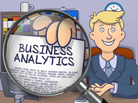 magnifying glass man: Business Analytics through Magnifying Glass. Man Showing Paper with Concept. Closeup View. Colored Doodle Illustration.