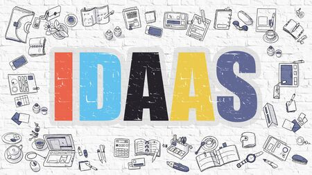 configure: IDAAS -  Identity as a Service - Concept. Idaas Drawn on White Wall. Idaas in Multicolor. Modern Style Illustration. Doodle Design Style of IDAAS. Line Style Illustration. White Brick Wall.