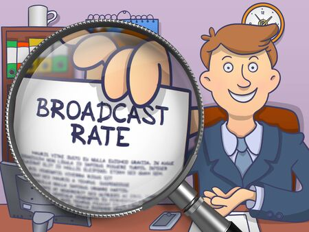 rapidity: Broadcast Rate. Man Shows Paper with Concept through Magnifier. Colored Modern Line Illustration in Doodle Style.