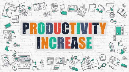 growth enhancement: Productivity Increase. Multicolor Inscription on White Brick Wall with Doodle Icons Around. Modern Style Illustration with Doodle Design Icons. Productivity Increase on White Brickwall Background.