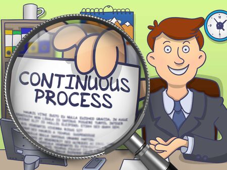 constantly: Continuous Process on Paper in Mans Hand to Illustrate a Business Concept. Closeup View through Magnifying Glass. Colored Doodle Style Illustration. Stock Photo