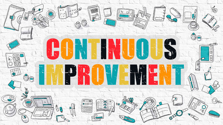 evolution: Continuous Improvement Concept. Modern Line Style Illustration. Multicolor Continuous Improvement Drawn on White Brick Wall. Doodle Icons. Doodle Design Style of Continuous Improvement Concept.