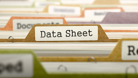 data sheet: Folder in Colored Catalog Marked as Data Sheet Closeup View. Selective Focus. 3D Render. Stock Photo
