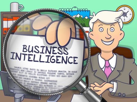 business intelligence: Business Intelligence. Businessman Welcomes in Office and Showing through Magnifying Glass Paper with Inscription Business Intelligence. Multicolor Doodle Style Illustration.