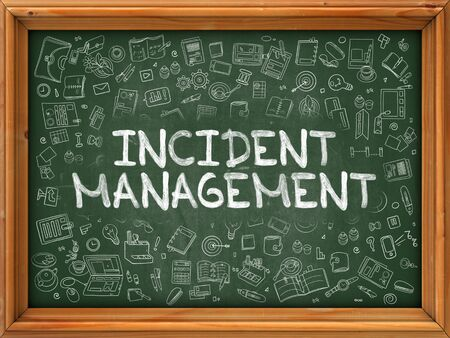 Hand Drawn Incident Management on Green Chalkboard. Hand Drawn Doodle Icons Around Chalkboard. Modern Illustration with Line Style. Stock Photo